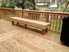 Cedar bench on a deck in Winfield Illinois by A-Affordable Decks