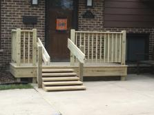 (After) Darien porch with very low riser for customer with mobility problems. A-Affordable Decks 2016