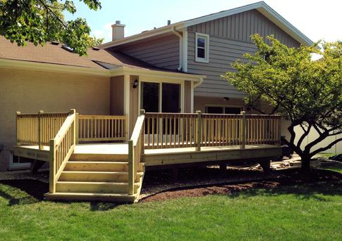"Deck in Darien IL - DuPageDecks.com ""We love it!  We are all excited to use it this coming weekend.  Thank you so much; the design fits our house/setup perfectly, and you can see the quality craftsmanship right away"""
