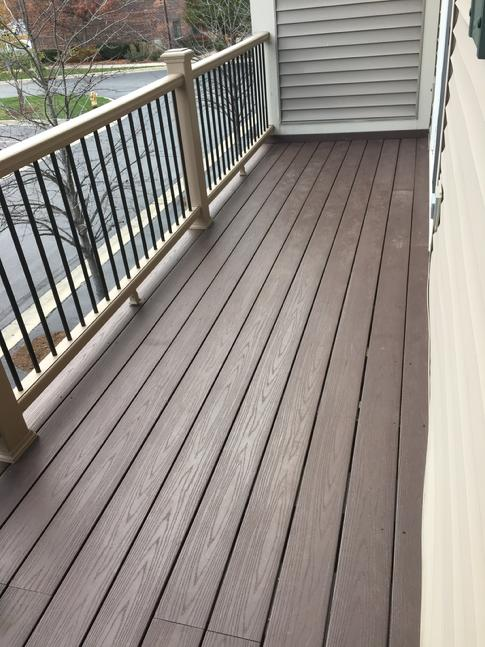 Azek brand pvc decking on this balcony in Lombard Illinois. A-Affordable Decks Lombard