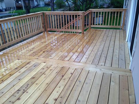 2013 Cedar deck in Glendale Heights IL. A-Affordable Decks a quality deck contractor
