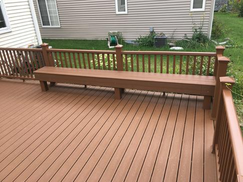 A-Affordable Decks Lombard Illinois. Bench made of Trex Transcend composite. 2017 Lisle, IL
